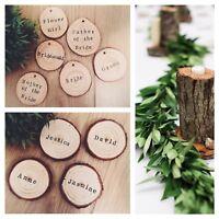 Personalised name place rustic disc wood slices rustic / vintage  wedding