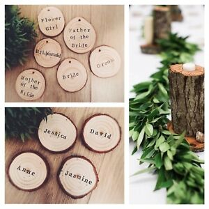 Personalised name place rustic disc wooden slices rustic / vintage  wedding