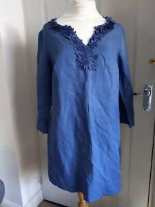 BODEN Chambray Silk Linen blend dress Tunic  14 Chambray blue