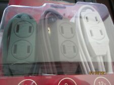 Holiday Living 3 13 amp extension cords 3 outlet electrical Brand new #0406109