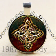 Charms Cabochon Glass necklace Silver/Black/bronze pendant(Celtic cross)