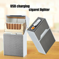 2 In 1 USB Charging Electric Metal Camping Lighter Cigarette Case Flameless