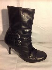 Hot Blooded Black Ankle Leather Boots Size 6