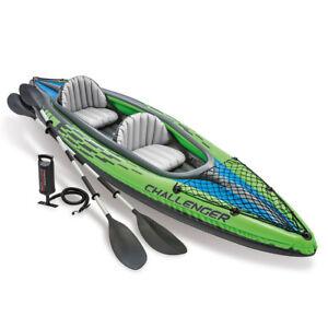 Intex Sports Challenger K2 Inflatable Kayak 2 Seat Floating Boat Oars River/Lake
