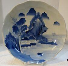 """#rtrmc Japanese Edo Ko-Imari plate b&w scallopd fishing village handpaint 12.75"""""""