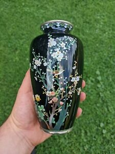 NO RESERVE Inaba Company Antique Japanese Cloisonne Vase Black 7 inches tall