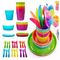 36x Piece IKEA KALAS Children's Plastic Dinner Set - Cups/Plates/Bowls/Cutlery