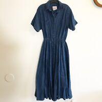 Sundance Denim Wear Vintage Denim Dress Womens Size Large Made In US
