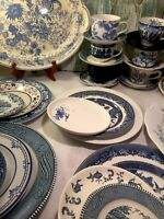 Mismatched Vintage China Transferware 43 piece Dinnerware Set Blue and White # 3