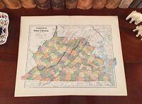 Original 1890 Antique Map VIRGINIA WEST VIRGINIA Alexandria Norfolk Charleston