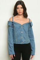 Misses Blue Denim Cold Shoulder Top Size Medium Long Sleeve Shirt Jacket