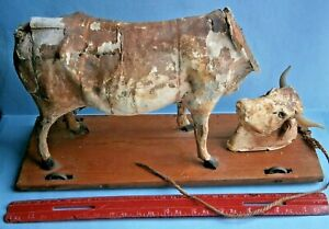 19th Century Cow Platform Pull Toy with Cast Iron Wheels