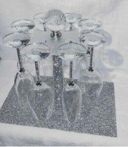 Silver Crushed Crystal Diamond Wine, Champagne Glass, Mug Holder