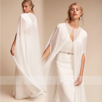 Women's Chiffon Wedding Bridal Cloaks Long Cape Shawls White Ivory Wraps Jackets