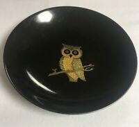 Couroc Owl Bowl Inlay On Black 7 1/2 Inch Monterey CA Vintage