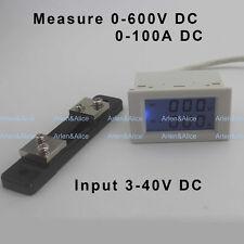 DC voltmeter ammeter range DC 0-600V 0-100A Blue backlight DC 3~40 Input