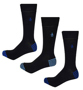 Original Penguin Mens Socks 3 Pack Black Formal Size 7 to 11 MSHPE456STM