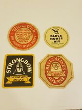 RARE LOT OF 4 Vintage BEER COASTERS UTICA BALLANTINE'S BLACK HORSE STRONBOW ALE
