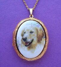Porcelain GOLDEN RETRIEVER DOG CAMEO Locket Pendant Necklace for Birthday Gift