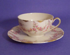 Haviland Limoges Varenne Tea Cups & Saucers, 2 sets, pink small floral