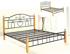 Prince King single metal frame bed with timber posts + FREE Delivery in SYDNEY