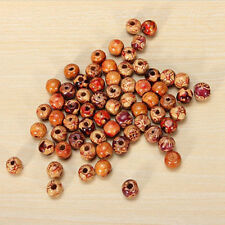 100pcs Assorted Wooden Round Beads Large Hole Beads Barrel Wooden Jewelry Making