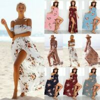 Boho Women's Holiday Off Shoulder Maxi Dresses Ladies Beach Floral Party Dress
