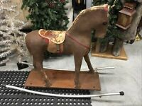 FANTASTIC VINTAGE ROCKING HORSE PAPER MACHE LEATHER SADDLE