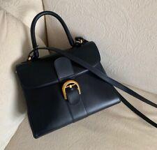 Delvaux Brillant MM Size, Women Handbag Dark Blue, Shoulder Strap
