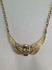 Kirks Folly NWOT Skull Wings LONG Gold Necklace