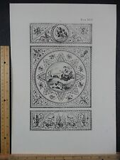 Rare Antique Original VTG Moon Goddess Artemis Stag Chariot Engraving Art Print