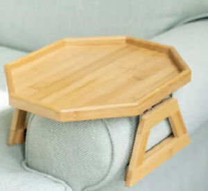 Signature Home Clip On Tray Sofa Table for Wide Couches Couch Arm Tray Natural N