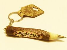 I love Palestine Hand Made Wooden Pen Keychain Key Holder Ring