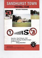 SANDHURST  TOWN V VIKING GREENFORD COMBINED COUNTIES LEAGUE   22/2/2003