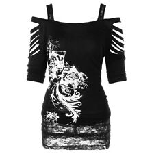 Fashion Women Off shoulder Rock Gothic Shirt Casual Ripped Sling Blouse Tops
