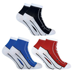 2 Pairs Mens & Womens Sneaker Style Socks that look like Shoes / Converse