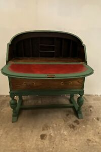 Art Deco   Vintage Oak  Desk And Matching Chair Distress Painted Shabby Chic