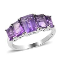 925 Sterling Silver Platinum Over Amethyst 5 Stone Ring Jewelry for Women Ct 2.1