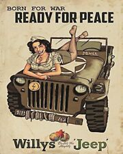 "10"" x 8"" WILLY'S JEEP USA AMERICA WW2 4x4 OFF ROADER METAL PLAQUE TIN SIGN N429"