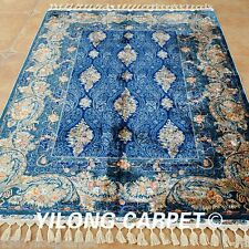 Yilong 4.3'x6.2' Handmade Silk Rugs Blue Persian Style Hand Knotted Carpets 1716