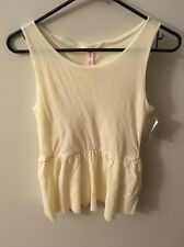 Sweet Pea by Stacy Frati White Peplum Tank Top, Size Medium, NWT!