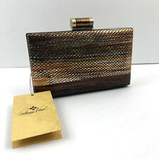 Patricia Nash NEW Gold Metallic Snake Alora Leather Frame Clutch Handbag Chain
