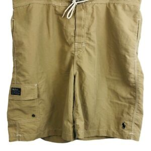 Polo Ralph Lauren Mens Trunks Swim Shorts Brown Drawstring Mesh Pockets XL