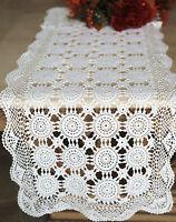 """Vintage Handmade Crochet Lace 100% Cotton Runner/Topper/Doily White 16x36"""" OB"""