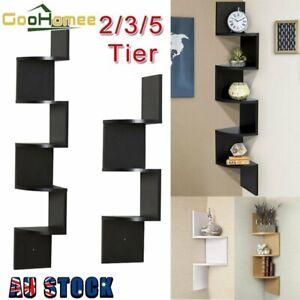 2-3-5Tier Wall Mount Corner Zig Zag Opt Shelf Floating Display Home Furniture