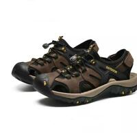 Men's Outdoor Hikking Sandals Casual Summer Beach Genuine Leather Trail Shoes sz