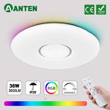 36W LED Deckenleuchte RGB Deckenlampe Dimmbar mit Fernbedienung Wohnzimmer Weiß