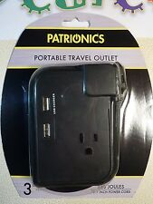 NEW - Patrionics Portable Travel Outlet - Two USB - One 120 VAC - 15.7 inch Cord