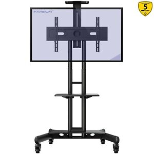 """Invision Mobile TV Stand Trolley Cart on Wheels for 32-65"""" TVs Anti-Tip (GT1200)"""