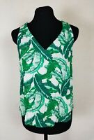 Old Navy Womens Size Small Tank Top Floral Leaves V-Neck Blouse Green Rayon S